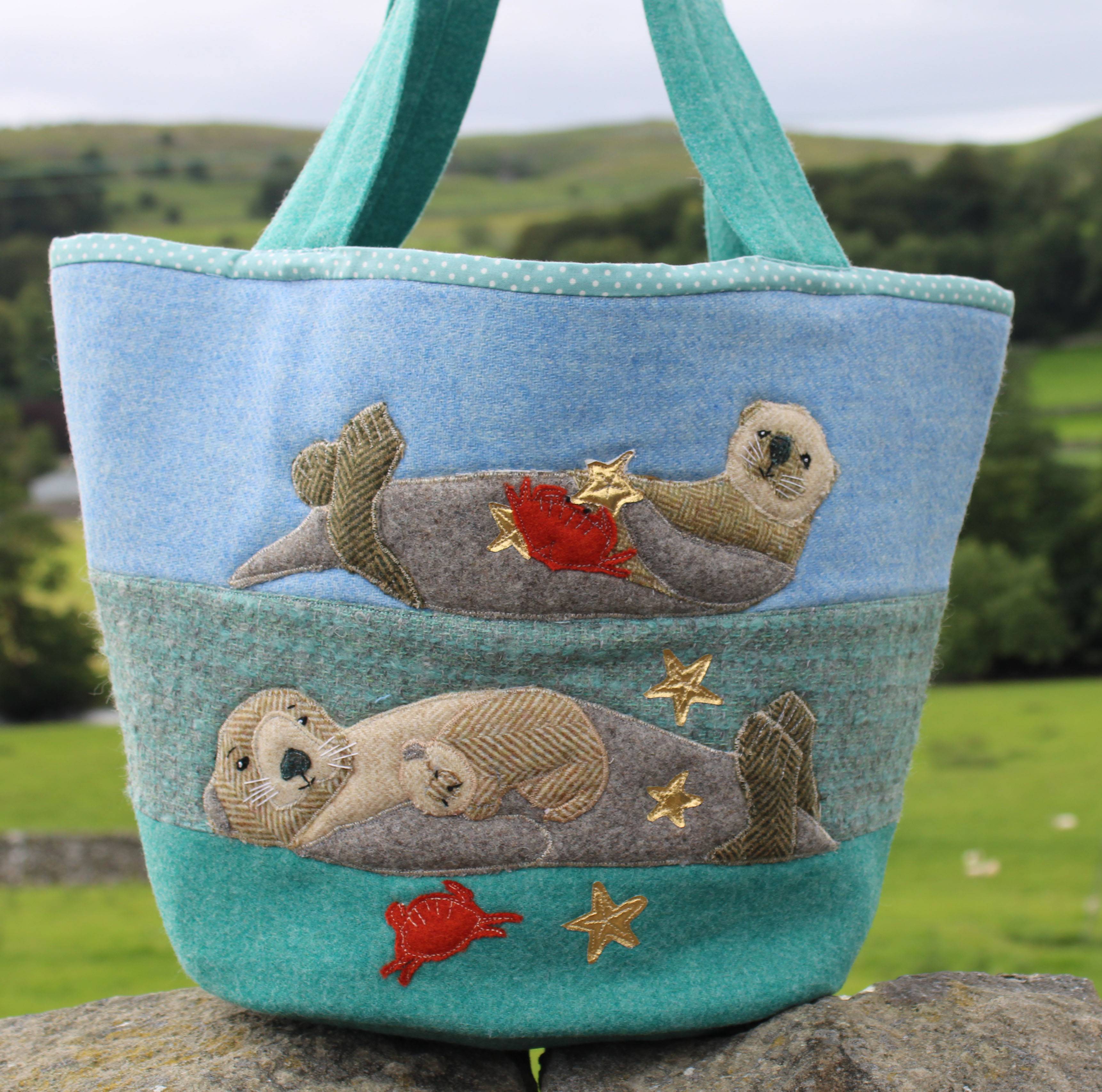 Bobbing Along Sea Otter Patchwork Beach Bag Sewing Pattern
