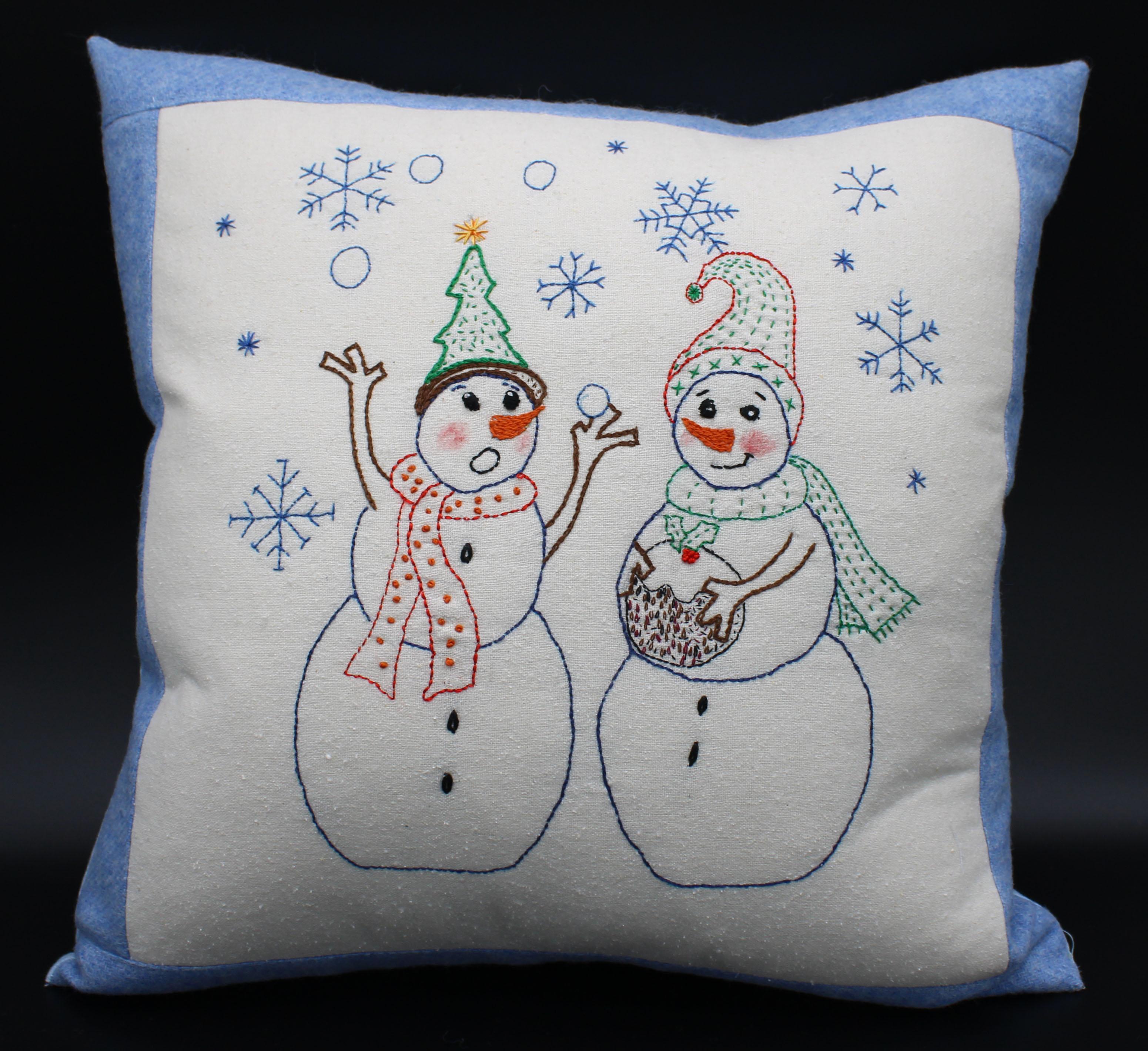 Jolly Snowmen Stitchery Cushion Sewing Pattern