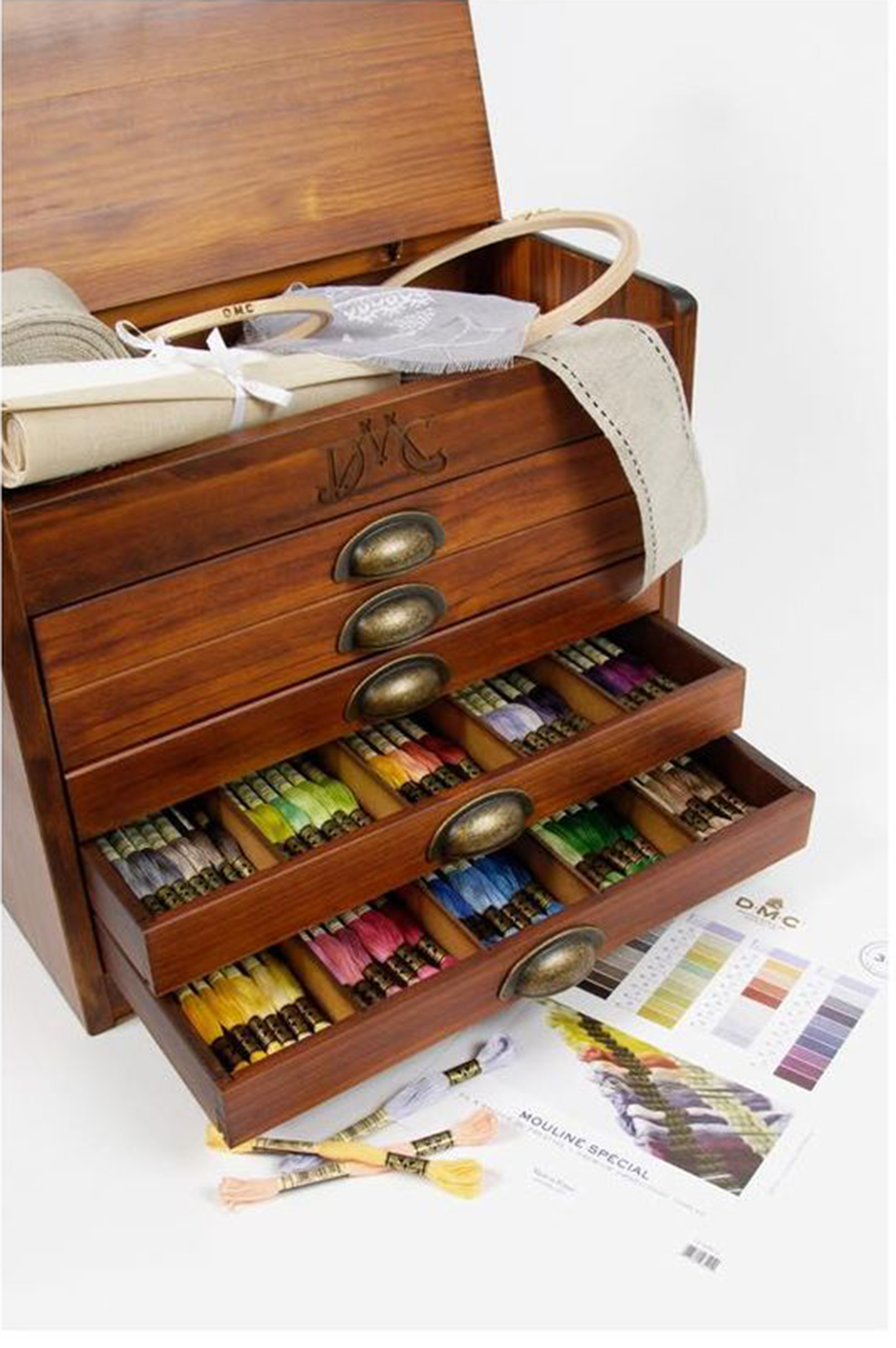 Vintage Style Wooden Chest of Drawers Containing all 500 colours of DMC Stranded Cotton Thread